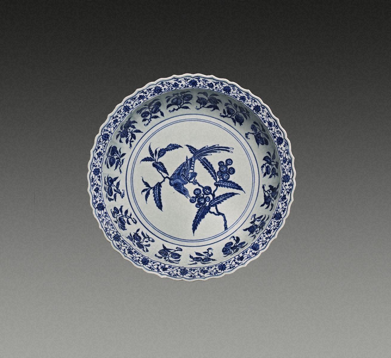 青花  枇杷鳥紋  盤