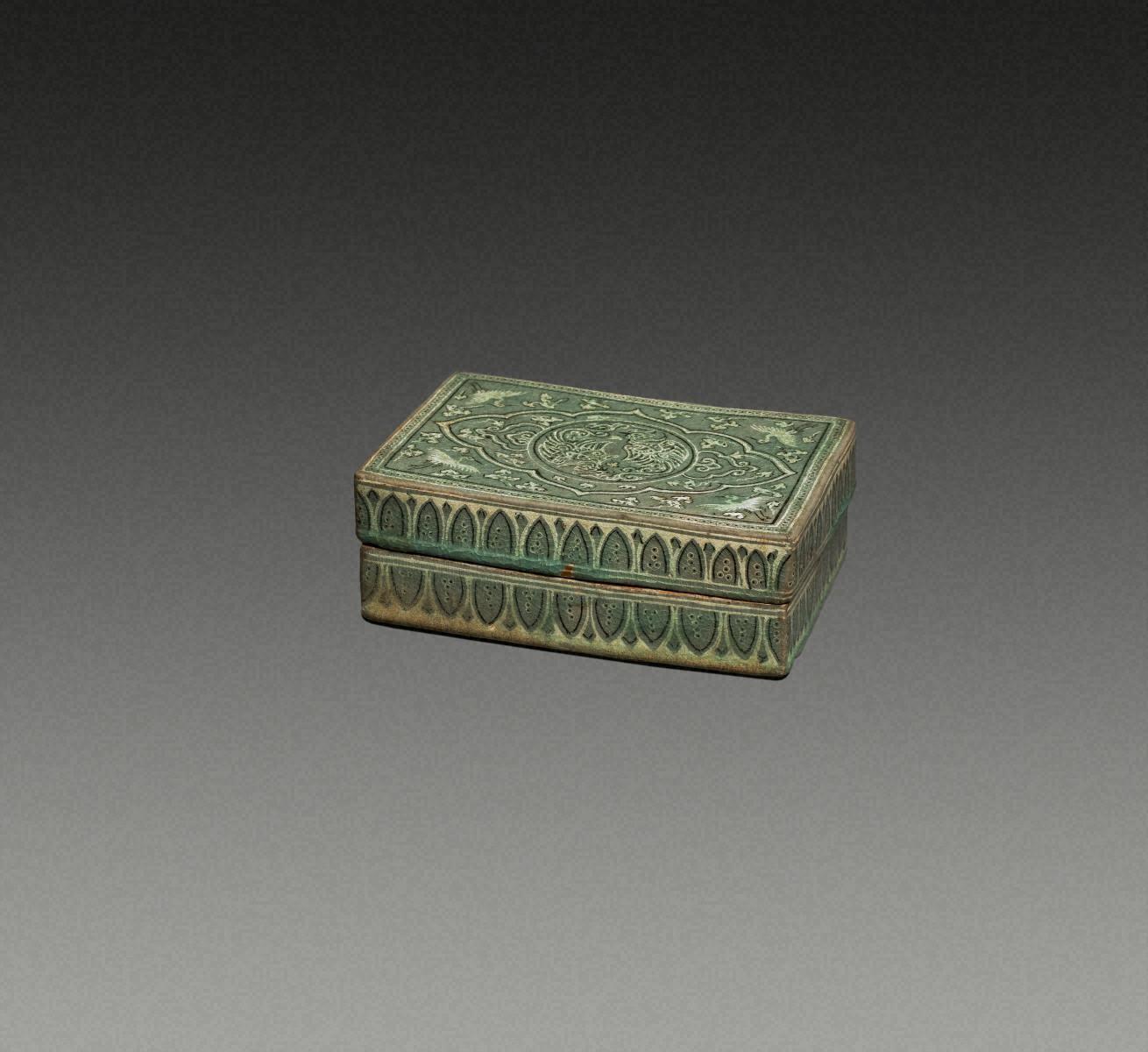 青瓷象嵌  鳳凰紋  方盒