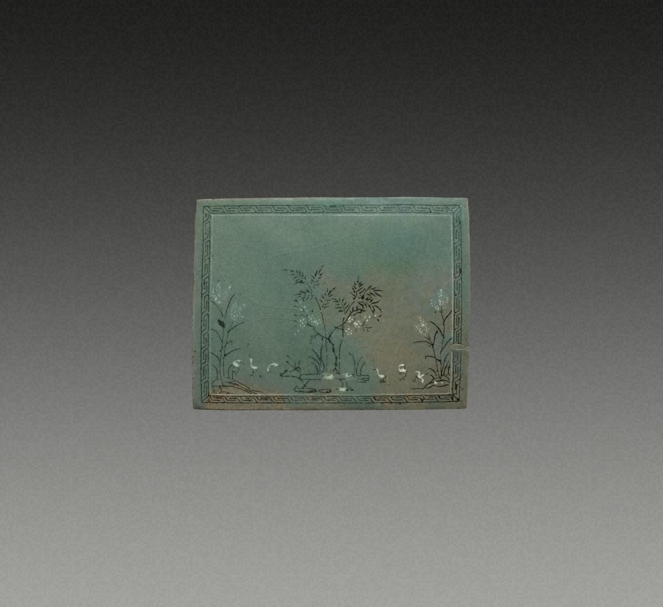 青瓷象嵌 六鶴紋 陶板