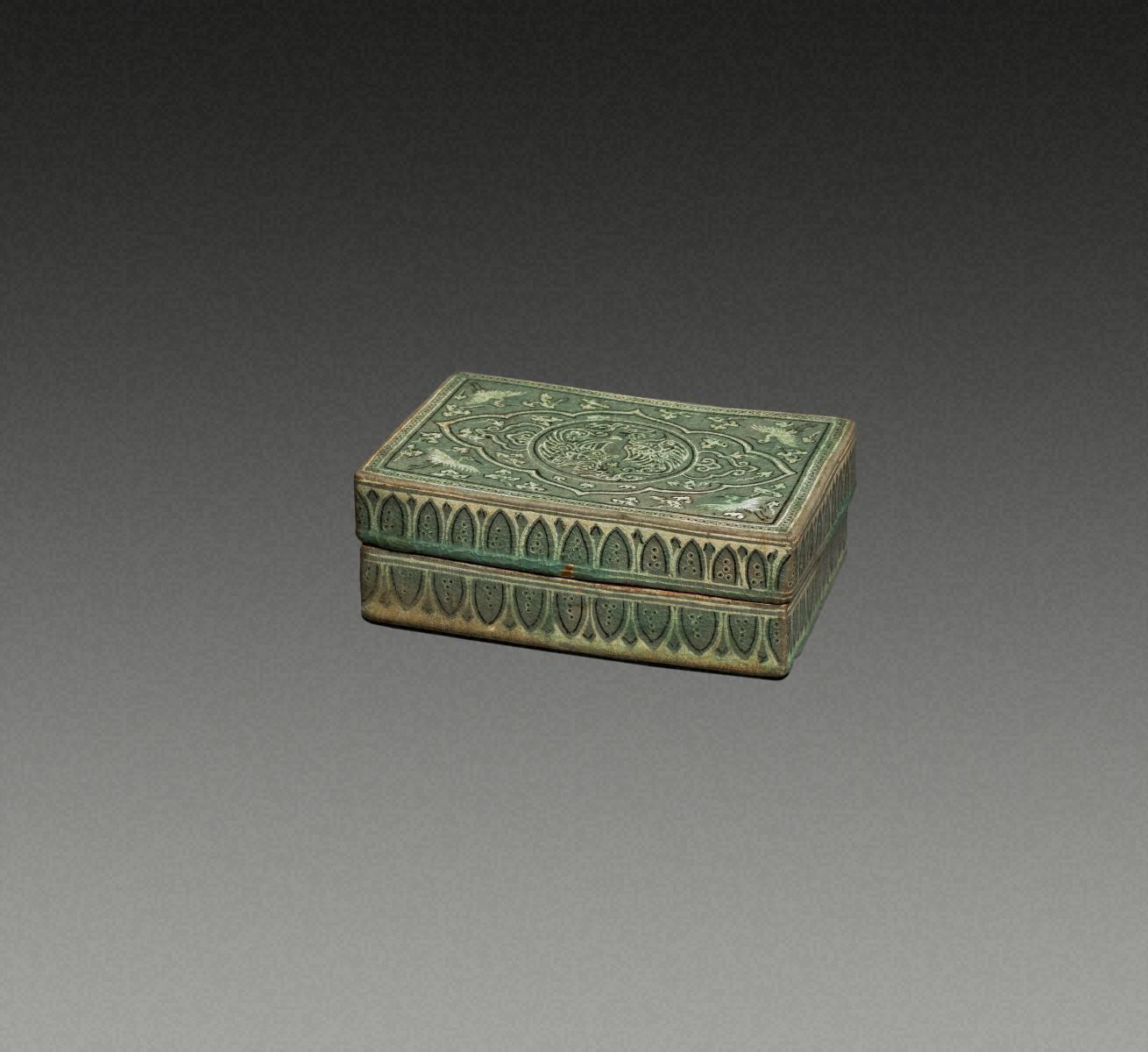青瓷镶嵌 凤凰纹 方盒