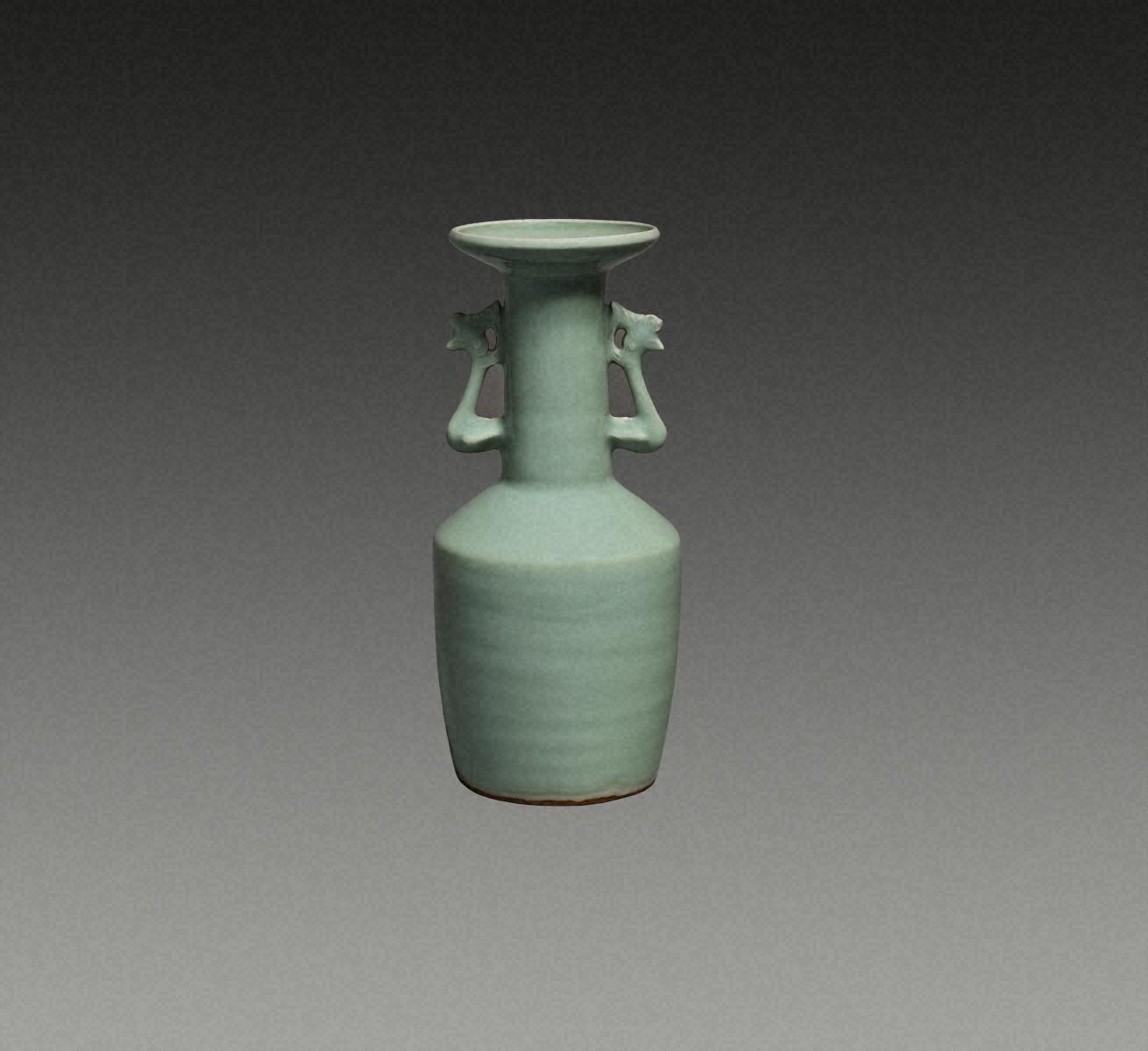 青瓷 凤凰耳花瓶