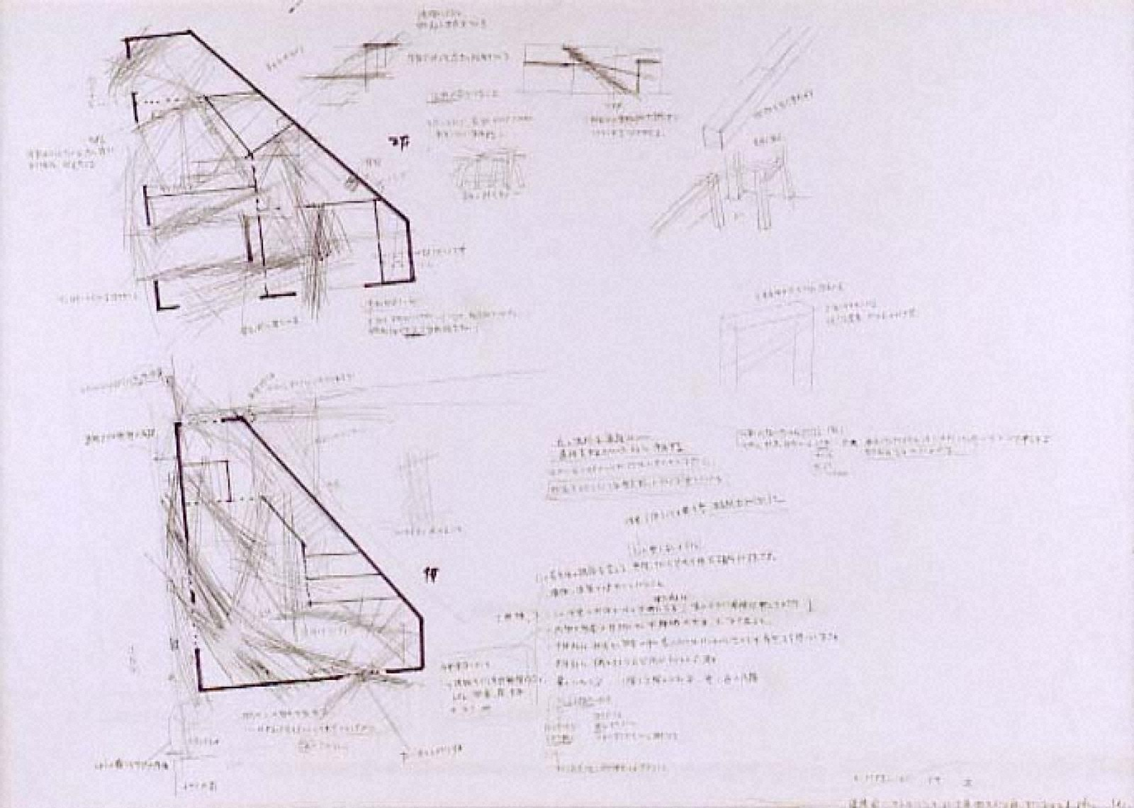 """PROJECT""""TETRA HOUSE N-3 W-26""""SAPPORO 1983 「Working Note 2」(ドローイング)"""