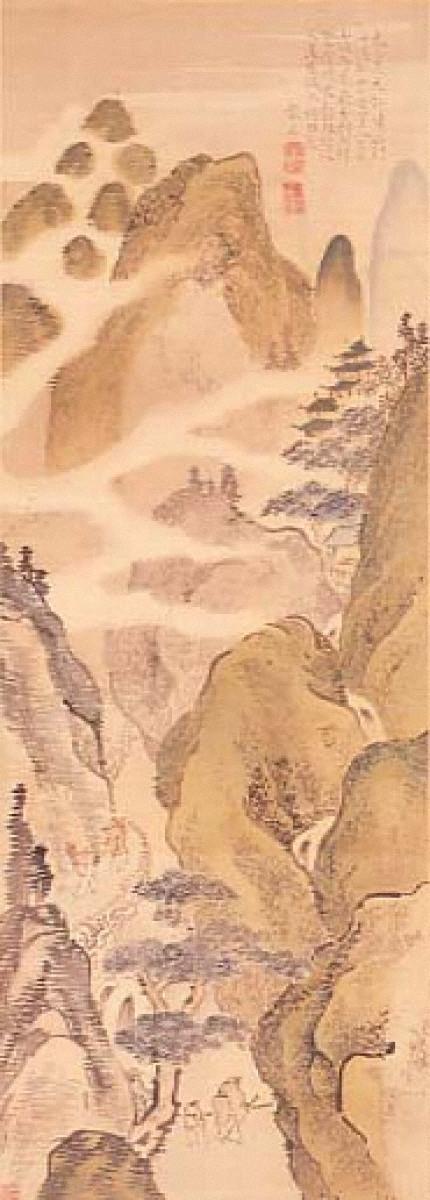 高士観瀑図