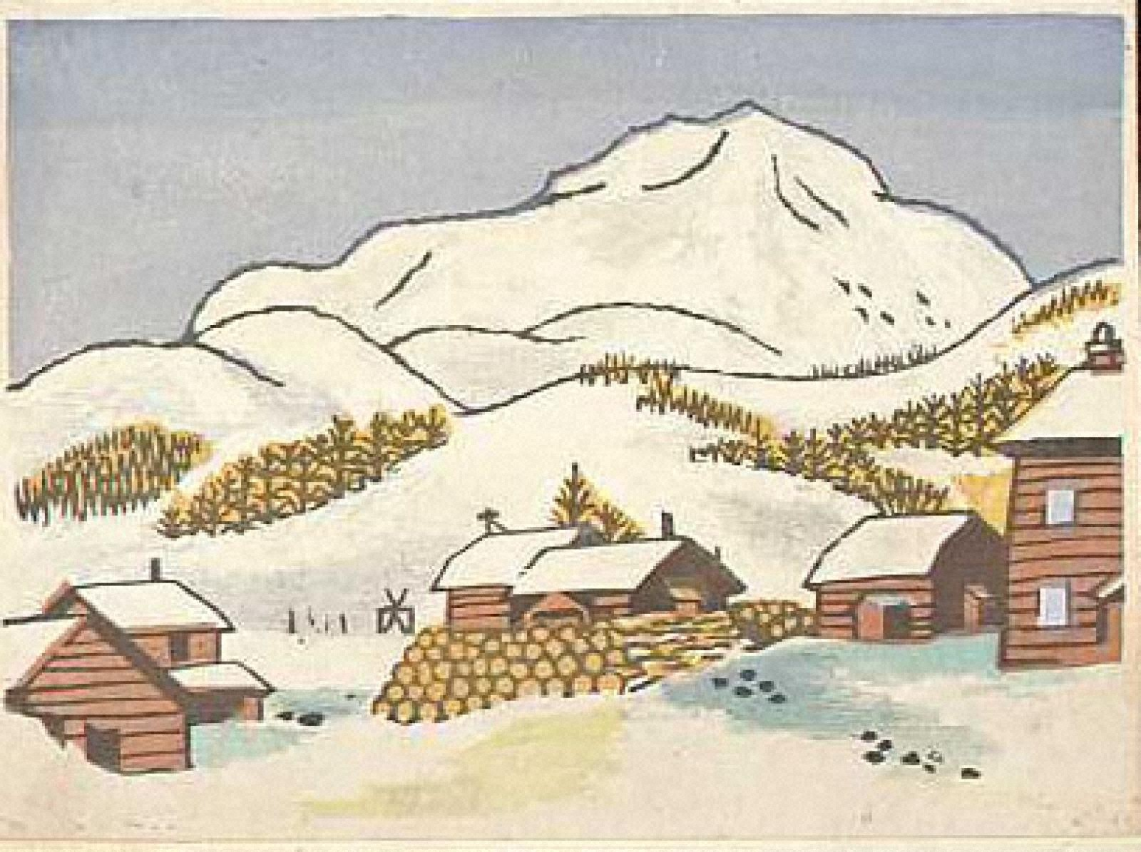 [雪の山村]