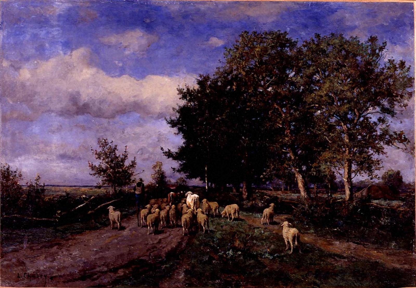 羊の群れを連れ帰る羊飼い