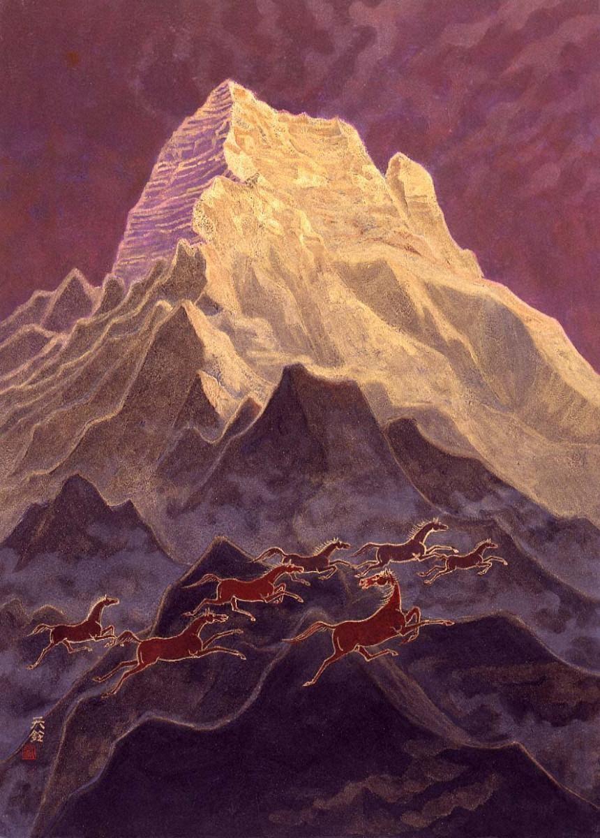 アンナプルナ南峰の朝霧はれて