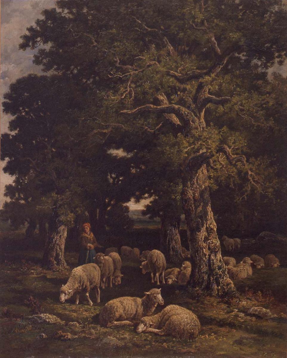 森の中の羊飼いと羊の群れ