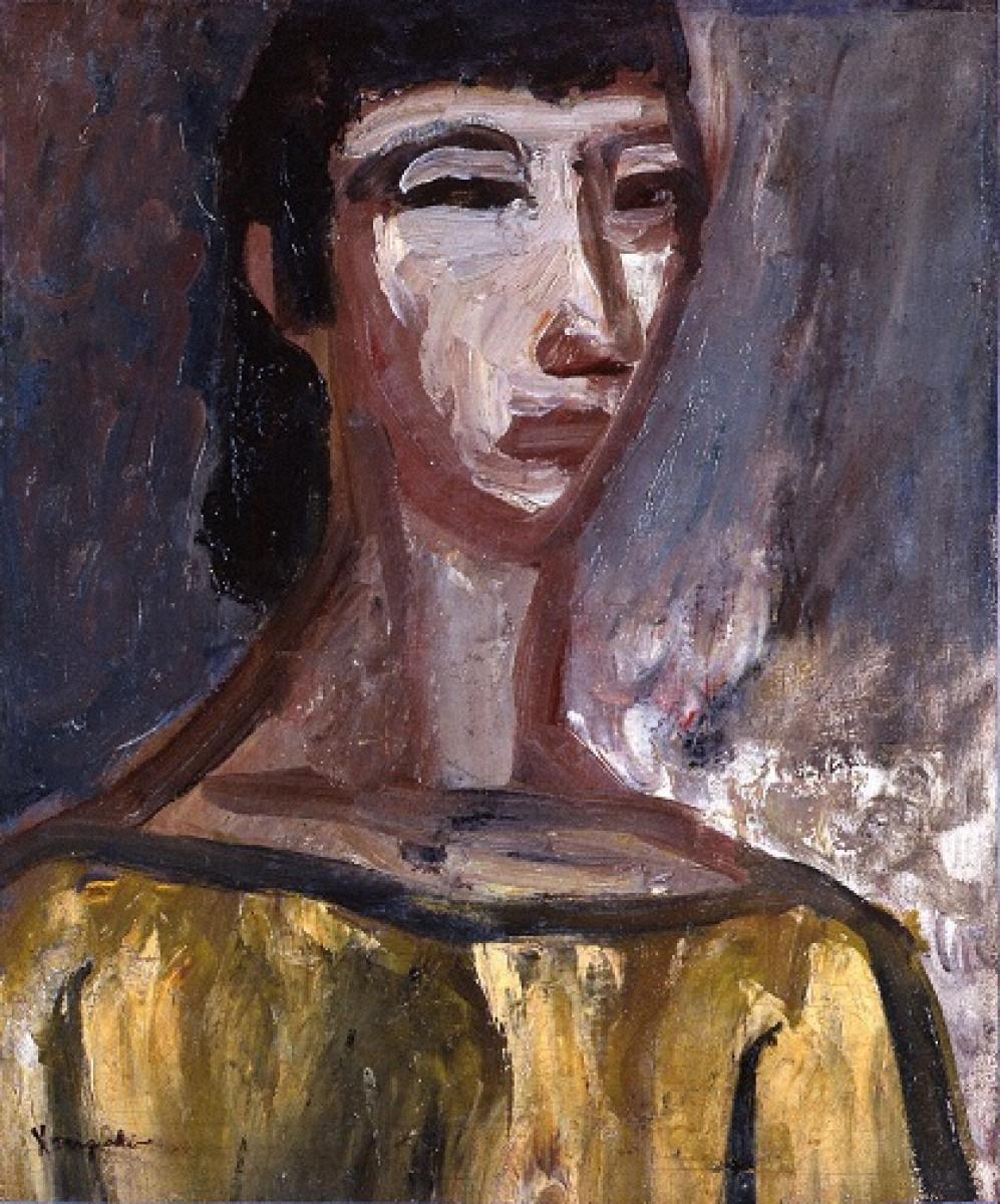 黄色の服の婦人像