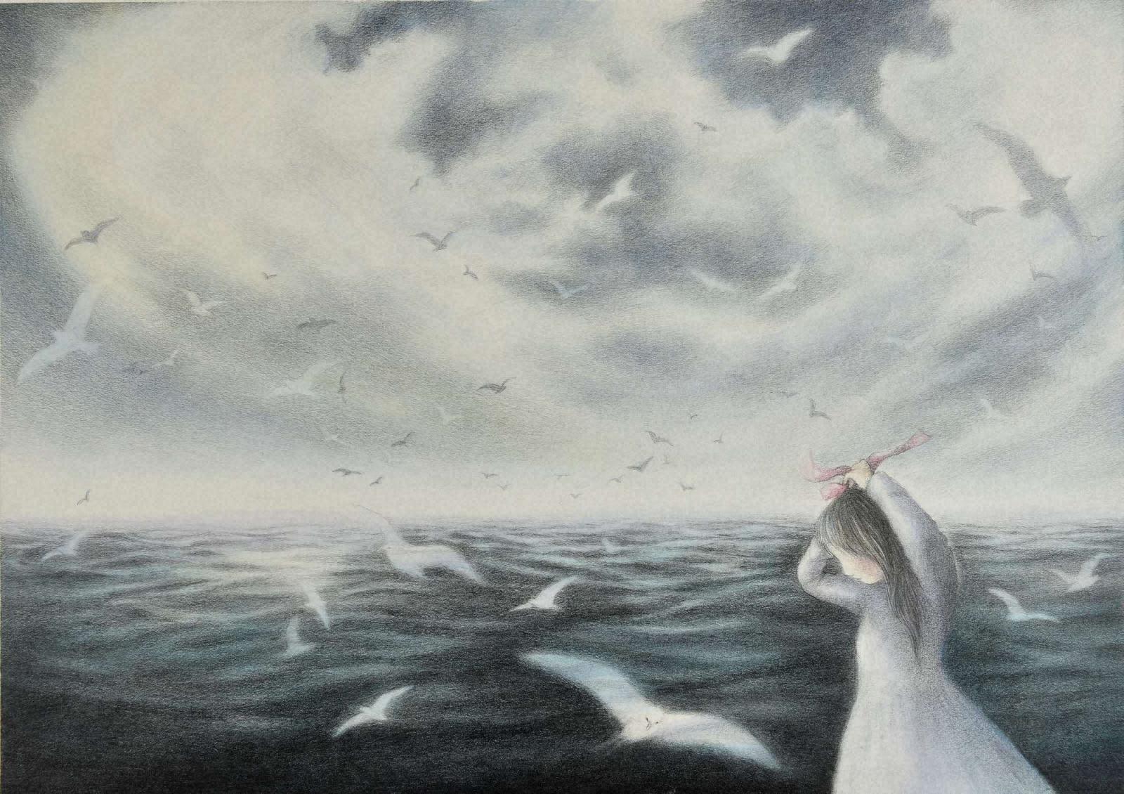 茨木のり子『明石の海』挿画