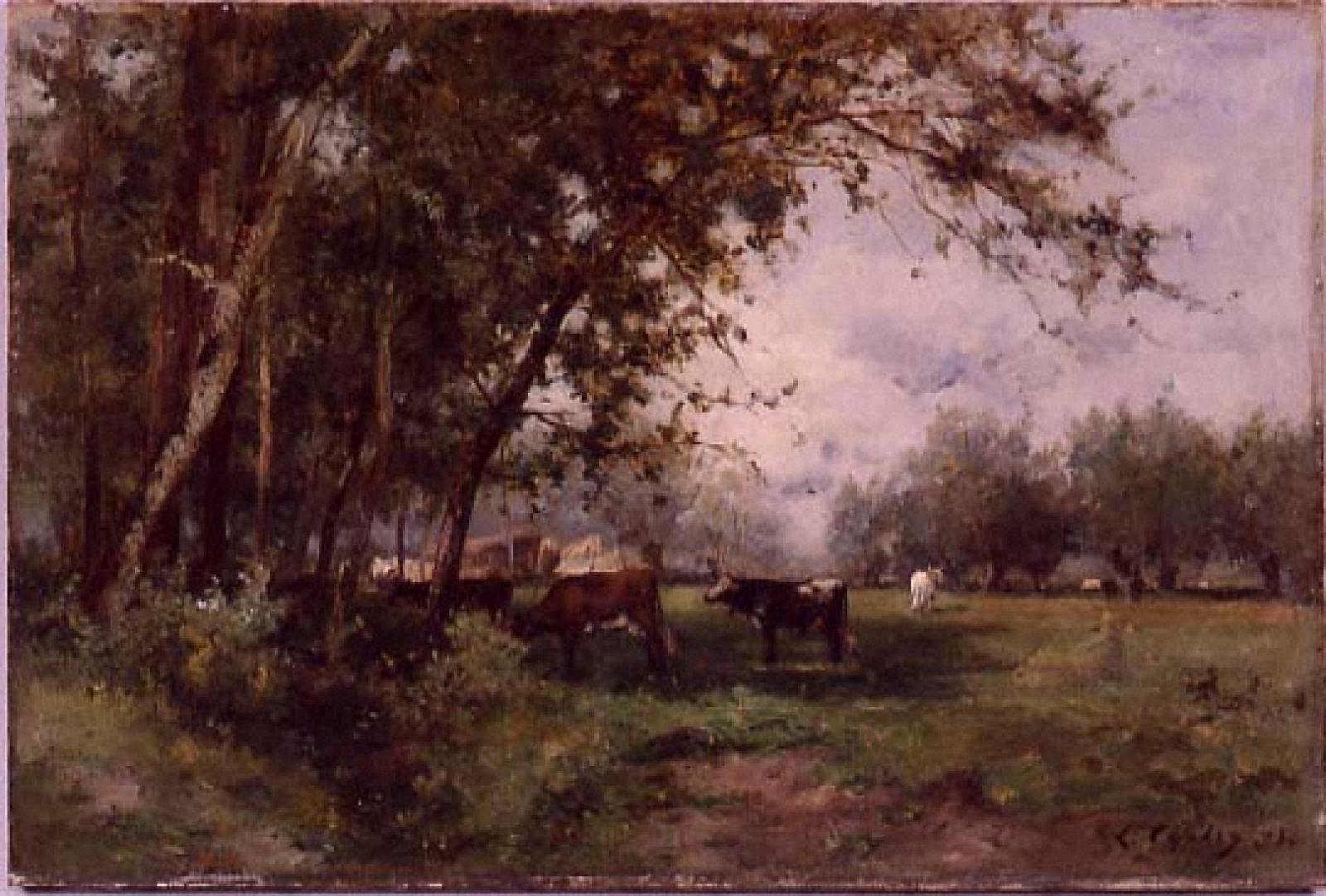 牧場と木々